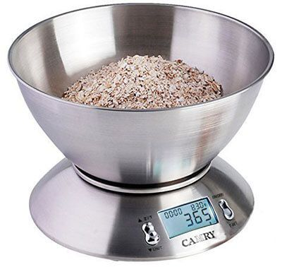 camry high accuracy digital kitchen food scale mixing bowl liquid volume room temperature and timer backlight lcd display stainless steel