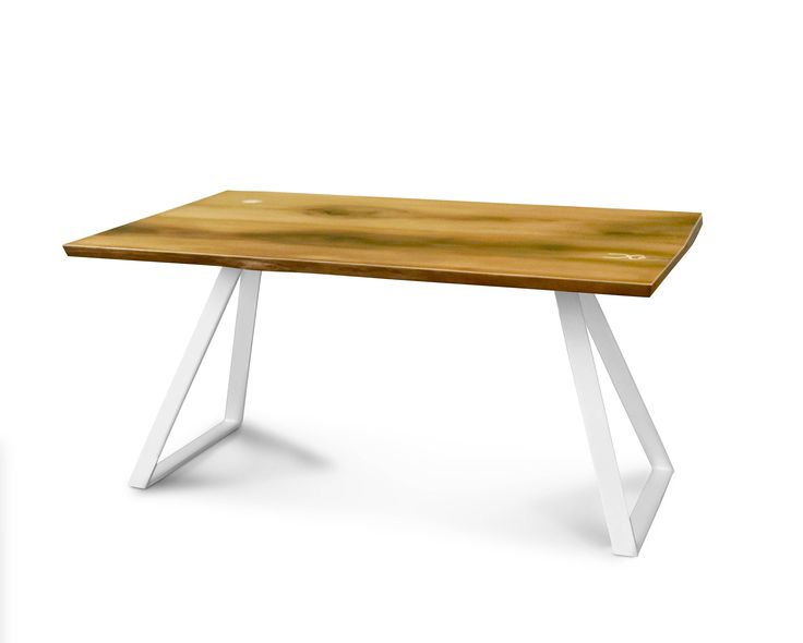 THE BUG table. Modern dining table. Modern desk. Natural wood. Solid wood. Metal legs.