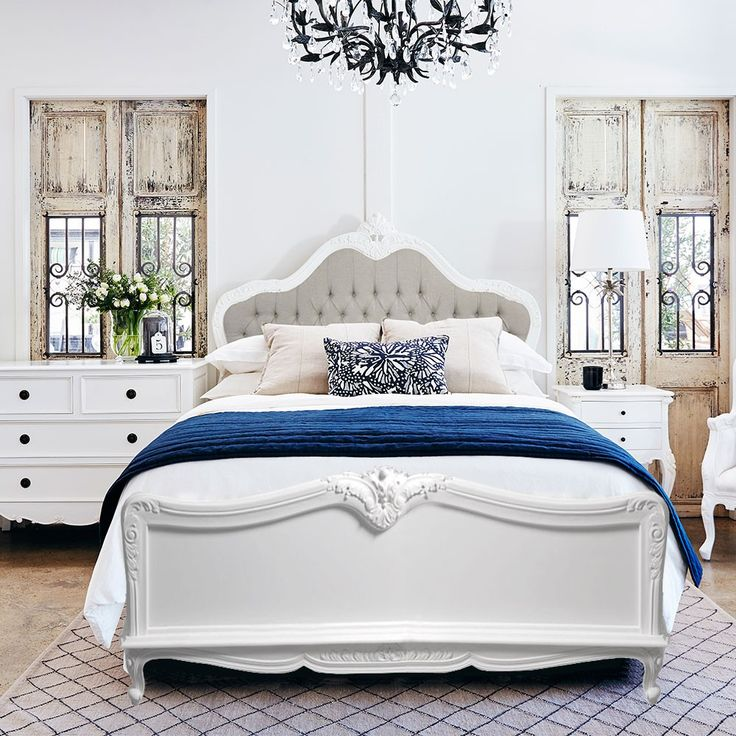 Baroque French Provincial Complete Bed.  If you are looking for French Provincial Bedroom Furniture, this is the piece for you!  Available in a variety of colours and fabrics including this white painted and natural version.