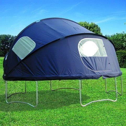Trampoline Tent.This tent fixture ($142) clips onto the edge of a circular trampoline, converting it into a tent or backyard playhouse for kids. It features four windows and two zip-up doors, and comes with a waterproof fly sheet.