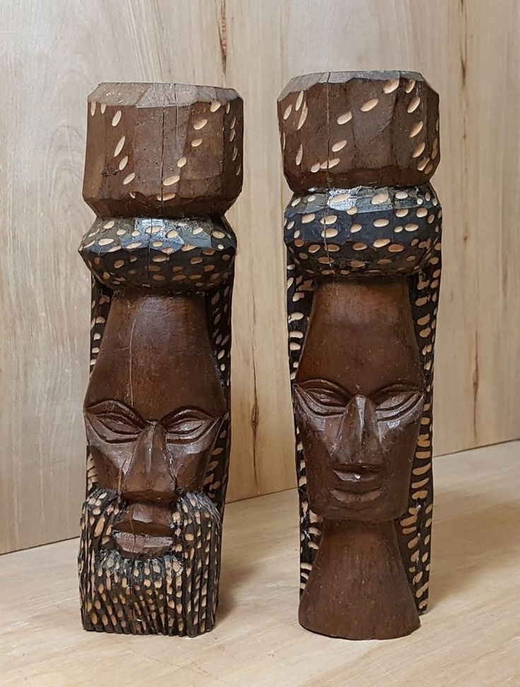 "Vtg Pair JAMAICAN CARVED WOOD 10"" Tiki Head Totem ~ Rasta Man + Woman Figurine #Carved #Wood #Sculpture #Jamaican #Rasta"