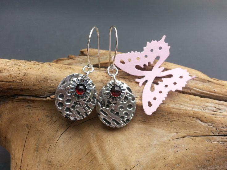 Aquarius Dangles - Almandine Garnet Earrings - PMC and Garnet Earrings - Metaphysical Earrings by Silvermaven on Etsy