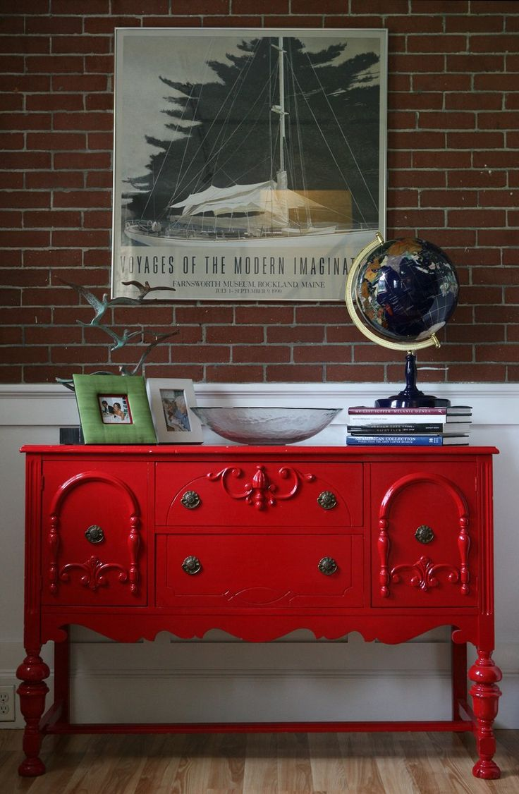 Antique Buffet In A Red Lacquered Finish