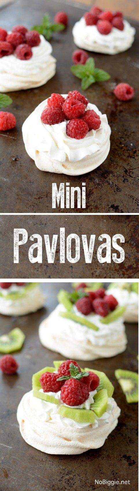 Mini Pavlovas with fresh fruit and fresh berries - so good!   recipe on NoBiggie.net