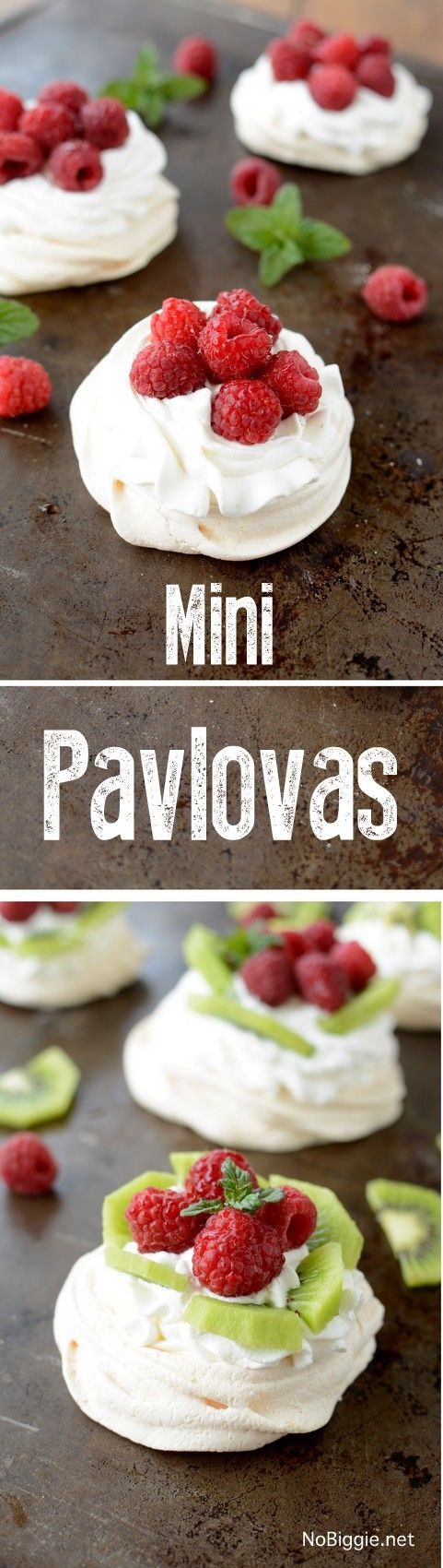 Mini Pavlovas with fresh fruit and fresh berries - so good! | recipe on NoBiggie.net
