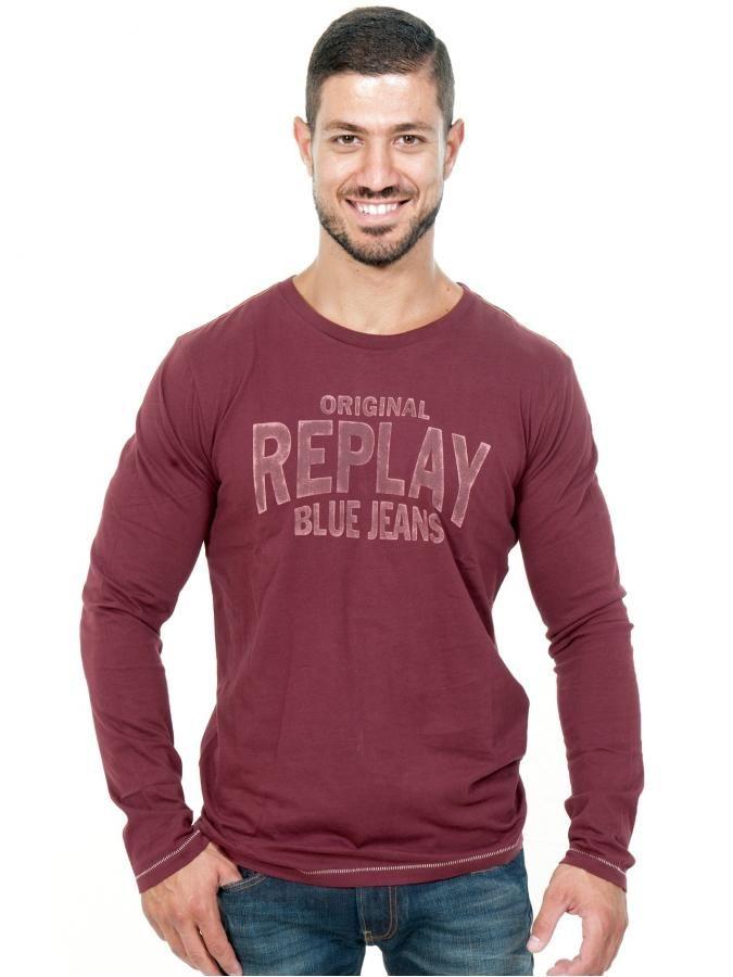 REPLAY Ανδρική μακρυμάνικη μπλουζά, βελουτέ