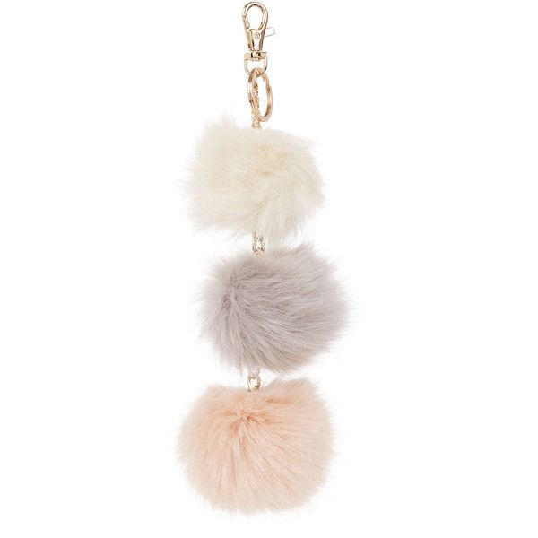 TRIPLE POM-POM KEYRING (16 AUD) ❤ liked on Polyvore featuring accessories and pom pom key ring