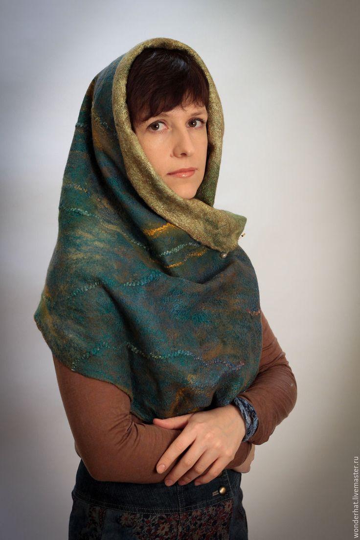 """Купить Валяный шарф-снуд """"Ирландский мох"""" - оливковый, снуд, войлок, аксессуары из войлока"""