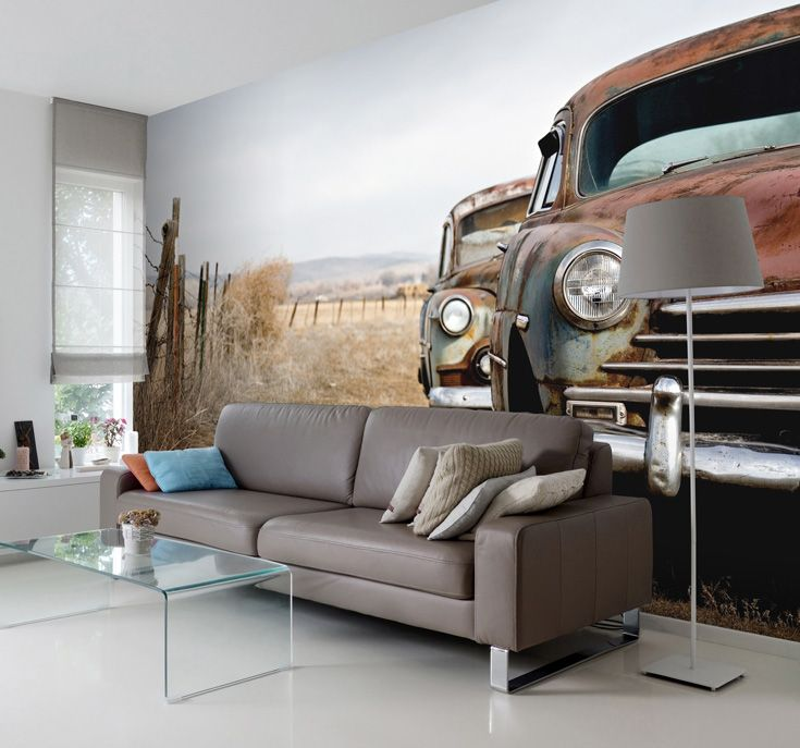 Incorporate Vintage Glamour Into Your Home With This Vintage Car Wallpaper.  Made To