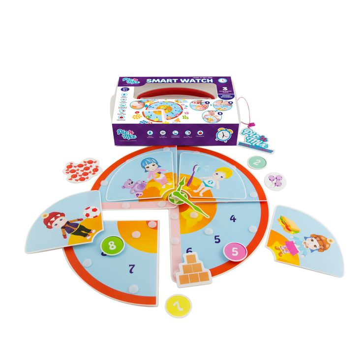 """Picnmix  """"Smart Watch"""" educational toy game includes 3 different stages of play  including understanding how the day is divided,  counting and how to tell time. A game that can grow with your child"""