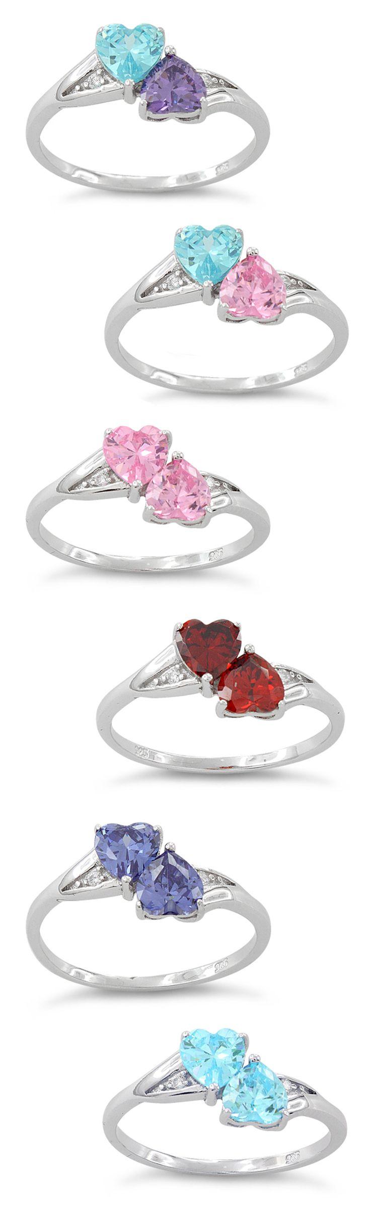 Sterling Silver CZ Double Heart Rings