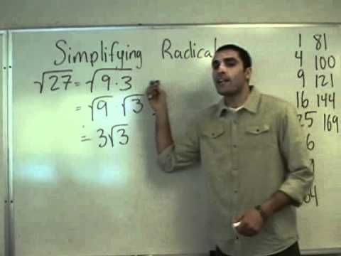 Algebra - Simplifying Radicals [an 1980's word for cool]