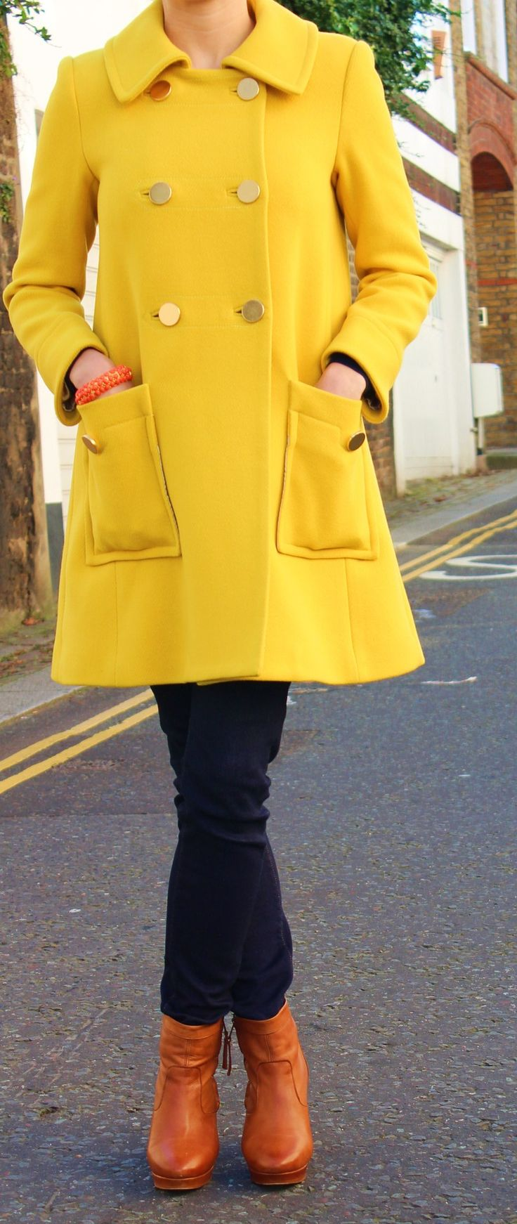 Yachty: Myka in J.Crew jacket, Uniqlo jeans, Kurt Geiger boots - can't get enough of the brights even in freezing temps!
