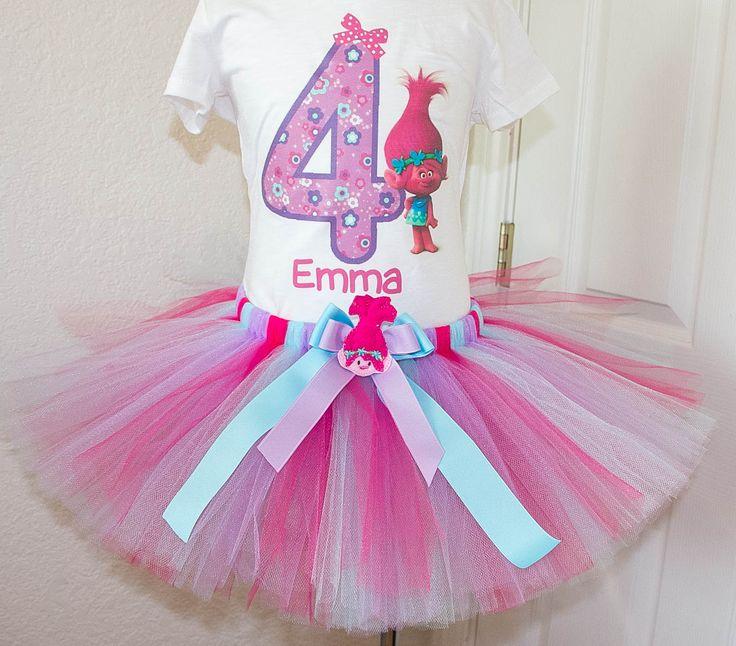 Poppy Troll Birthday Tutu outfit Purple Pink and light blue. Trolls Poppy birthday outfit. Personalized