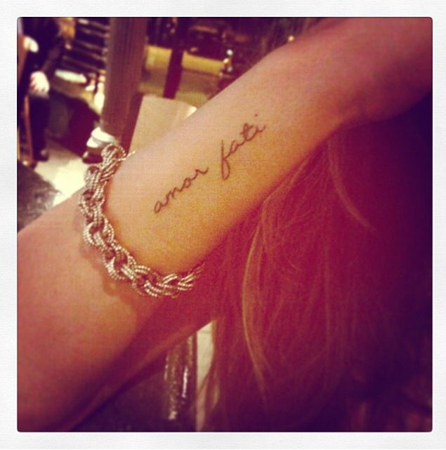 """My tattoo......Amor fati is a Latin phrase loosely translating to """"love of fate"""" or """"love of one's fate"""". It is used to describe an attitude in which one sees everything that happens in one's life, including suffering and loss, as good. Moreover, it is characterized by an acceptance of the events or situations that occur in one's life. (Photo of Bianca Iris. Tattoo done by Shaun Topper/DaVinci Tattoo)"""