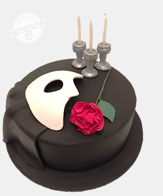 Phantom of the Opera mask and rose cake