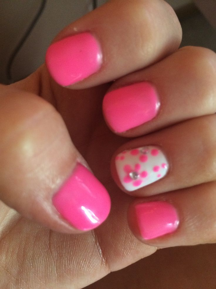 No chip hot pink with flowers