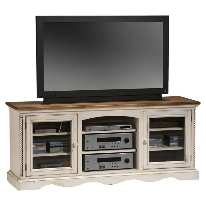 Birch Lane Westwood TV Stand - The Westwood 45-inch television stand features a blend of cottage styling and country-accented details with two open shelves, a center glass door cabinet, and six drawers for ample storage. Constructed from sturdy pine with antiqued white and brown burnished edging.