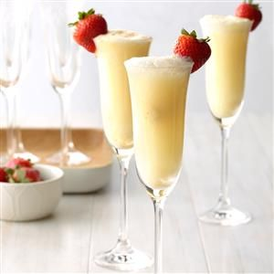 """Orange Dream Mimosas Recipe -Toast Mom at a Mother's Day brunch with this """"grown up"""" creamsicle beverage. For the kiddos, make a non-alcoholic version with non-alcoholic sparkling wine, sparkling cider, or ginger ale. —Deirdre Cox, Kansas City, Missouri"""