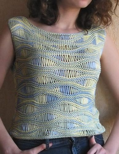 Free Knitting Pattern for Ribbon Top - Sleeveless top is knit with drop stitch wave pattern. The original pattern is for a crop top but the knitter of the pictured project just added additional repeats of the pattern for length. Pictured project by julysnow. Great with multi-color yarn!