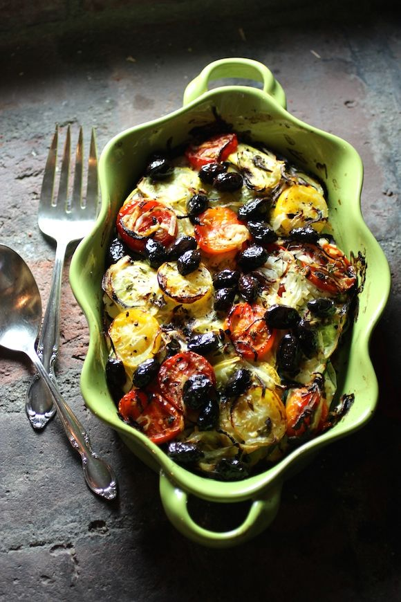 Colorful Vegetable Casserole with Fresh Herbs and Olives. This version is #vegan