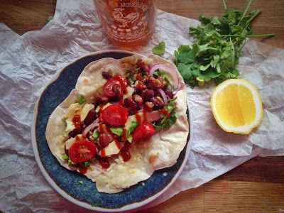 30 minute Vegetarian Burritos with Home made flat bread.