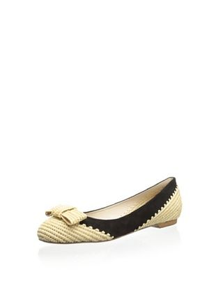 71% OFF Delman Women's Bandy Ballet Flat (Nat/Black)