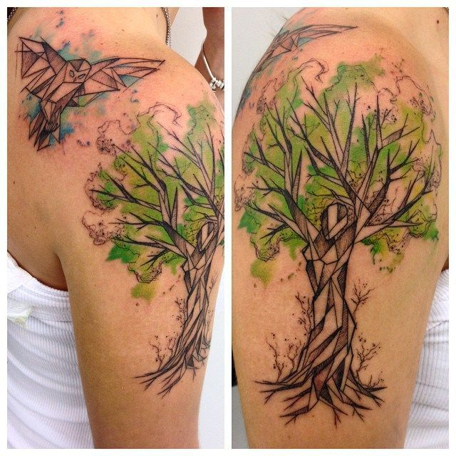 Sketchy Watercolor Tree Tattoo On Shoulder Watercolor Tattoo