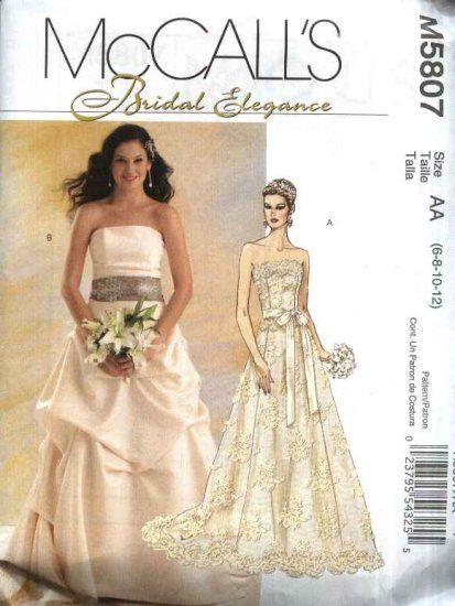 Fancy McCall us Sewing Pattern Misses Size Strapless Two Piece Wedding Bridal Gown Dress