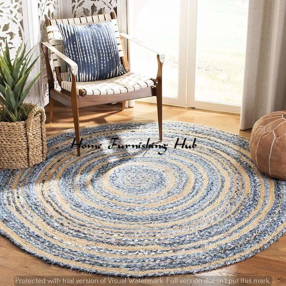 Details about  /Indian Handmade Chindi Jute Denim Round Rug Home Decor Rug 2x2 Feet