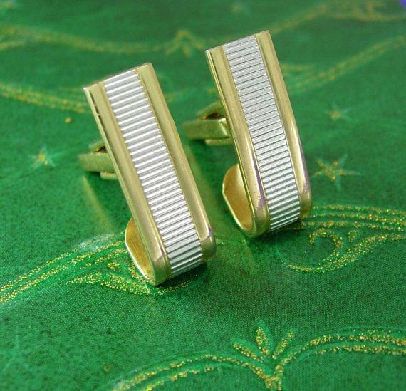 Vintage Wrap Cuff links gold Escalator Modernist Cufflinks silver & Gold  Hickok Wedding Groom accessory Business suit accessory