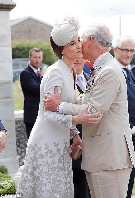 dailymail: Centenary of Passchendaele, Third Battle of Ypres, July 31, 2017-The Duchess of Cambridge is greeted by her father-in-law the Prince of Wales
