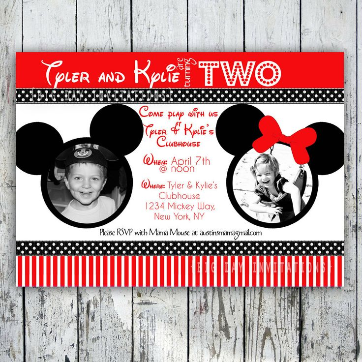 60 best mickey & minnie twins 2nd birthday party images on, Printable invitations