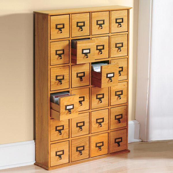 Library Style CD Storage Cabinet with 24 Drawers - Holds 456 CDs