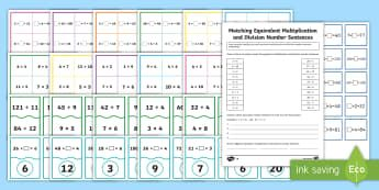 Equivalent Multiplication and Division Number Sentences KS2 Resource Pack - ACMNA121, Year 5 Maths, Number Sentences, Differentiated Maths, Multiplication, Division, Identify E