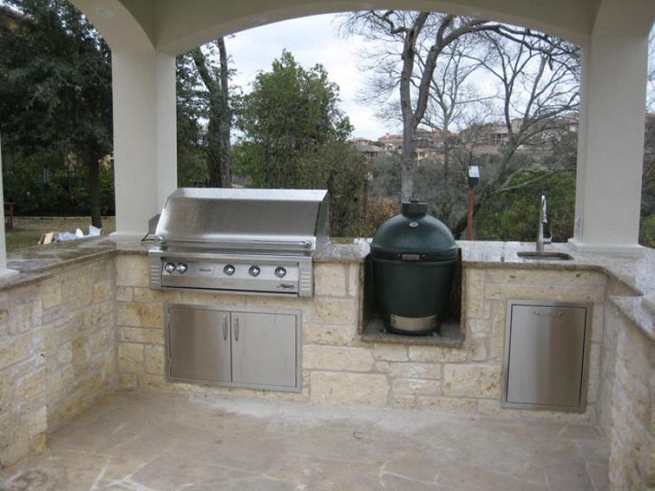 Outdoor grill area with green egg and gas grill google for Gasgrill fur outdoor kuche