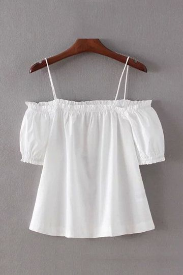 White Off Shoulder Thin Strap Top