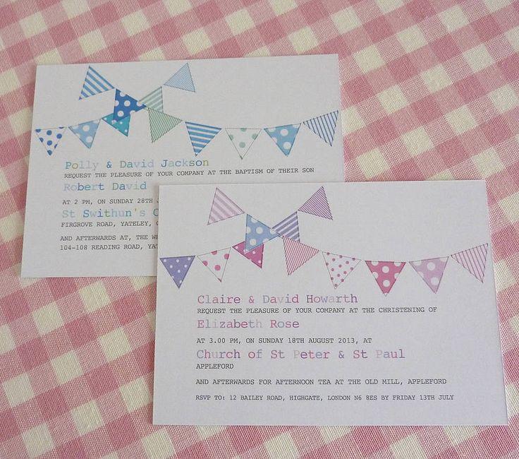 bunting personalised christening invitations by little cherub design   notonthehighstreet.com