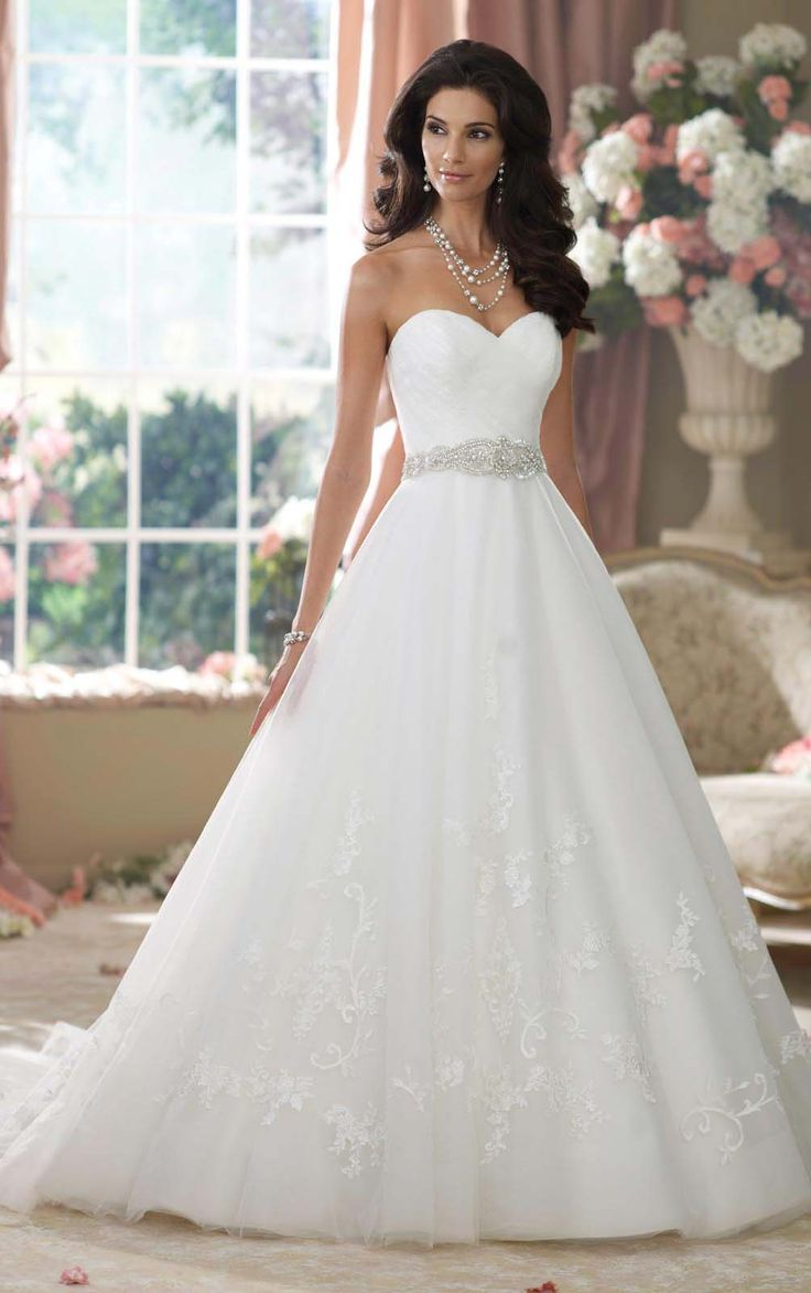 Graceful Lace Buttons Floor-length Sweetheart Empire Bridal Gown-1