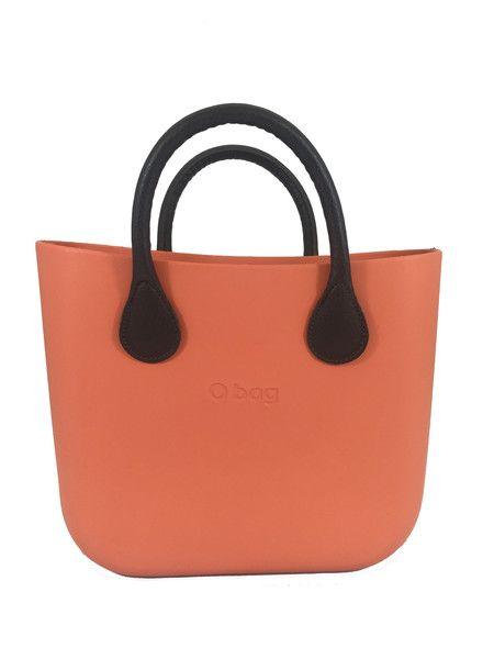 Papaya Mini O Bag Body with Brown Short Eco Leather Handle