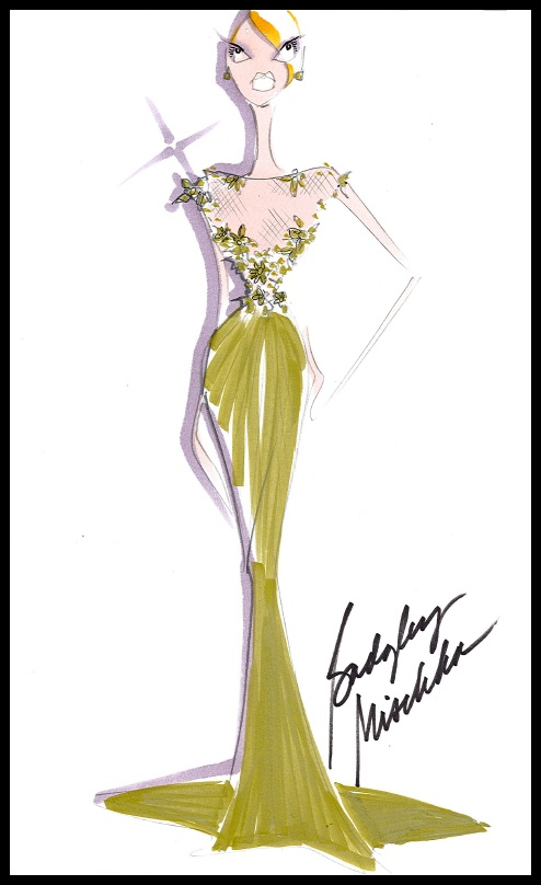 @Badgley Mischka Resort 2013 Preview #5 - It's a nude tulle jewel-neck gown with jeweled floral embroidery & a bias-sequin skirt. #BGBadgley