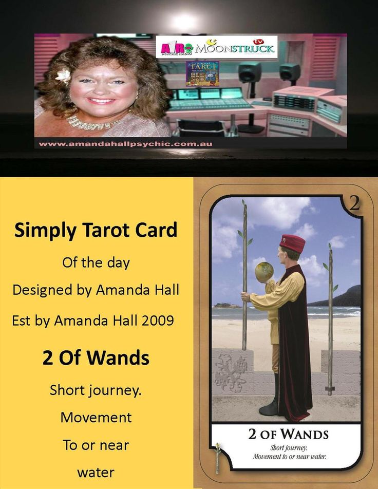 #SimplyTarotCard Tuesday 11th October 17🔮 2 OF WANDS  Short journey. Movement to or near water  📺 Amanda Hall Psychic A1R Psychic Radio+Moonstruck TV Time: Tuesdays at 10pm US Eastern Time/ Wed Noon AEST🌎 Book a reading amanda@simplytarot.com.au or pm Est by Amanda Hall Oct 2009🌠🔮