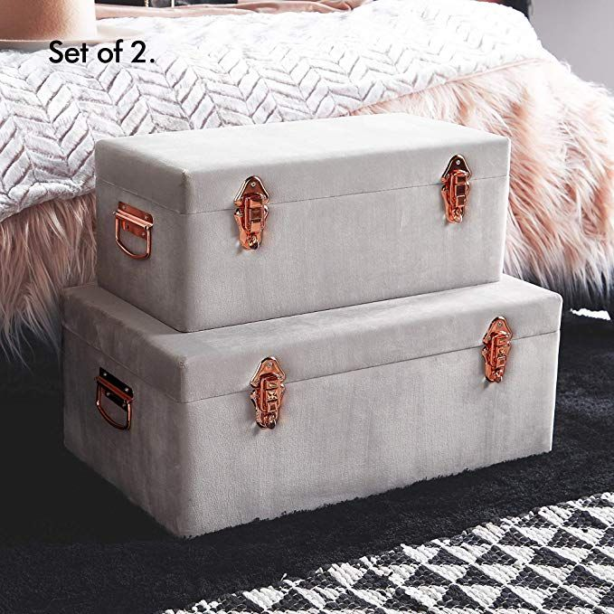 Amazon Com Beautify Velvet Trunks For Bedroom Living Room Or College Dorm Gray Footlocker Storage Tru Storage Trunks Decorative Storage Trunks Storage Trunk #storage #trunks #for #living #room