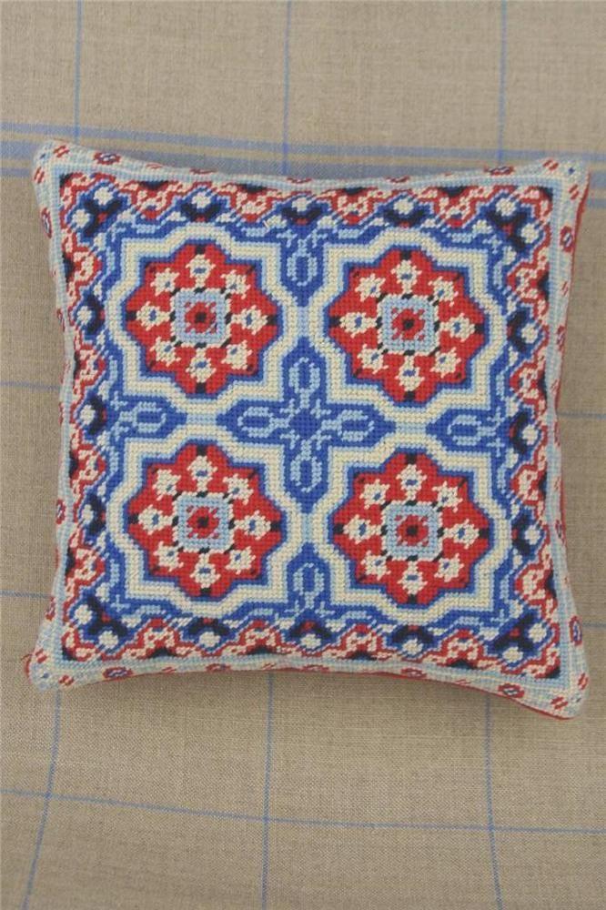 Sajou French Cement Tile Basketweave Needlepoint Tapestry Kit-  Villedieu #Unbranded