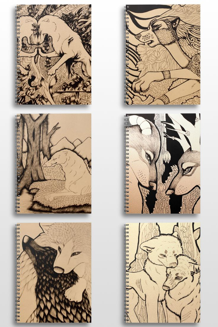 A collection of illustrated wolf notebooks available in my store.  #Wolf_products #wolf_art #wolf_illustration #wolf_notebooks #wolf_couple