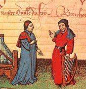 Guillaume Dufay (c. 1400-74)/a French composer and was possibly the leading composer of his era. His music includes: church music including mass settings and motets; and secular music including over seventy chansons. In this picture he's standing on the left, while his fellow composer, Gilles Binchois, standing on the right.