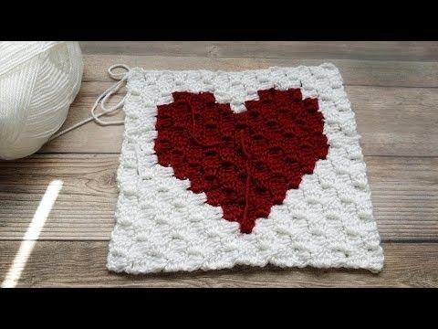 Como #Crochetar um C2C (canto a canto) Gráfico Quadrado do Coração (VIdeo 2)
