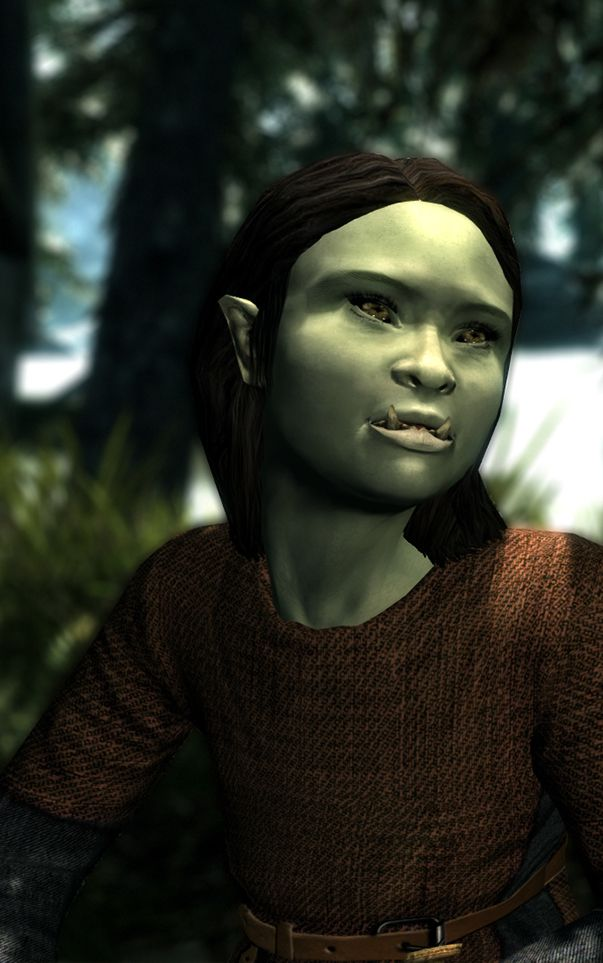 "Urshug, an orc child from the ""Kidmer - Adoptable Elf Children"" mod for Skyrim."