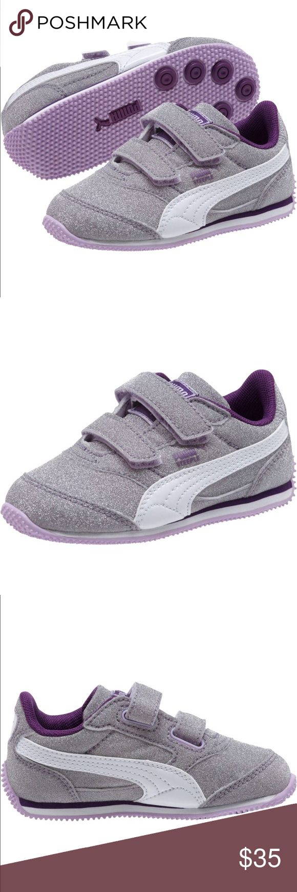 PUMA Steeple Glitter Sneakers Brand new, never worn, no longer in box. We're too small for my daughter by the time she wanted to wear them ☹️    For some kids, everything – repeat, everything – is better with glitter. Case in point: these sneakers. Dual strap hook-and-loop closure for easy on/off Non-marking rubber outsole with lug pattern for added stability and grip Puma Shoes Sneakers