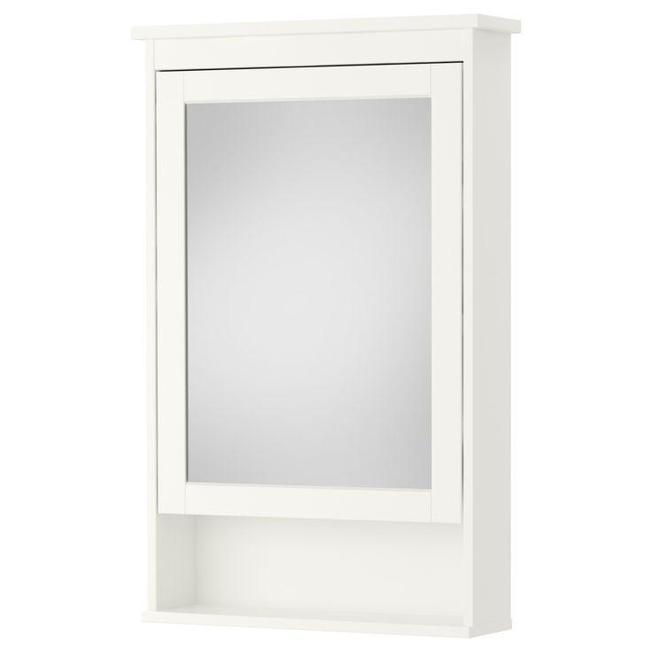 """HEMNES  Mirror cabinet with 1 door  $140.00  Product dimensions  Width: 24 3/4 """"  Depth: 6 1/4 """"  Height: 38 5/8 """""""